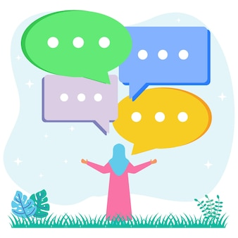 Illustration vector graphic cartoon character of discussion