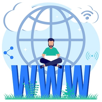 Illustration vector graphic cartoon character of domain registration