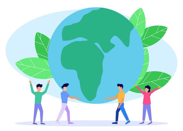 Illustration vector graphic cartoon character of earth day