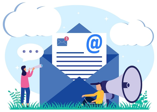 Illustration vector graphic cartoon character of email marketing