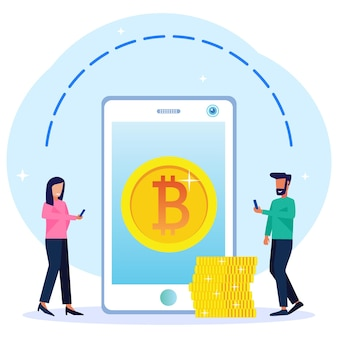 Illustration vector graphic cartoon character of exchange cryptocurrency