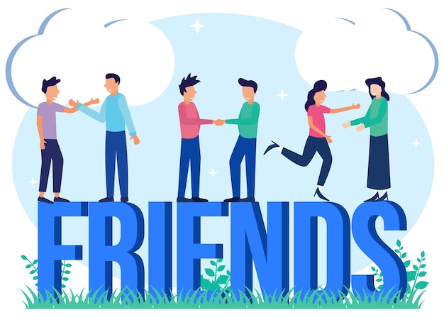 Illustration vector graphic cartoon character of friends