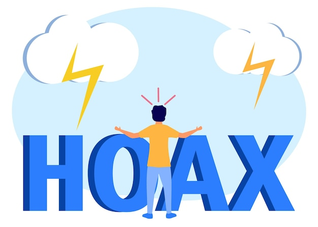 Illustration vector graphic cartoon character of hoax