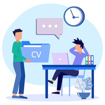 Illustration vector graphic cartoon character of interview