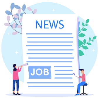 Illustration vector graphic cartoon character of job vacancy