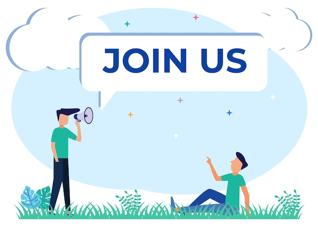 Illustration vector graphic cartoon character of join now