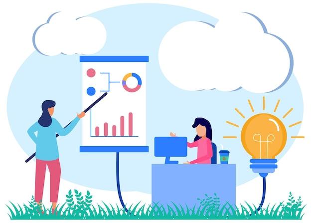 Illustration vector graphic cartoon character of mentoring business tutors