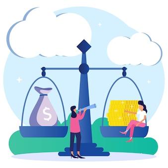 Illustration vector graphic cartoon character of money balance
