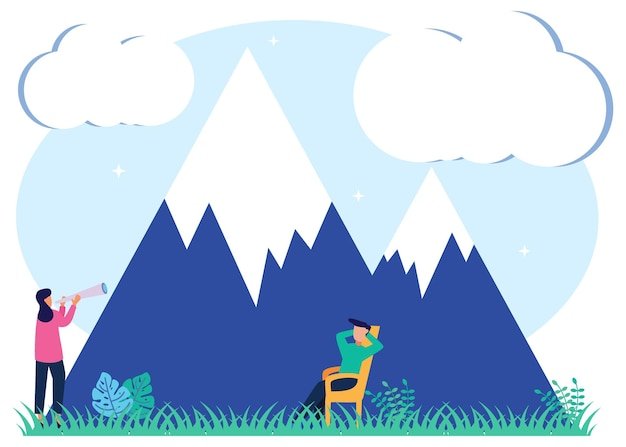 Illustration vector graphic cartoon character of mountain ecotourism