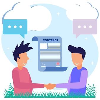 Иллюстрация векторной графики мультипликационный персонаж делового контракта