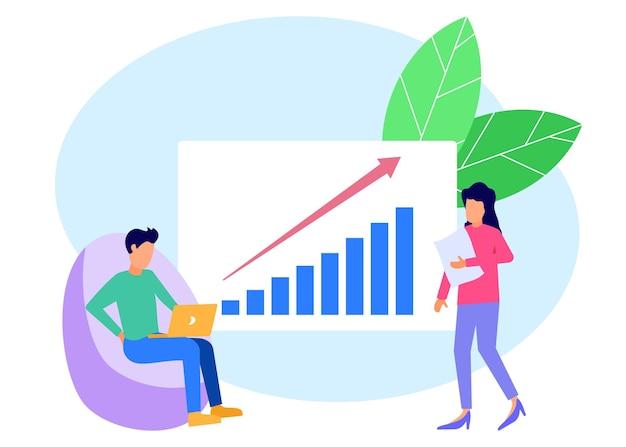 Иллюстрация векторной графики мультипликационный персонаж роста бизнеса