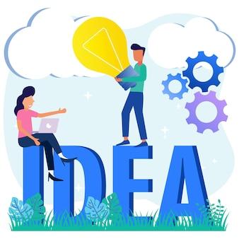 사업 아이디어의 그림 벡터 그래픽 만화 캐릭터