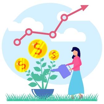 Иллюстрация векторной графики мультипликационный персонаж деловых инвестиций