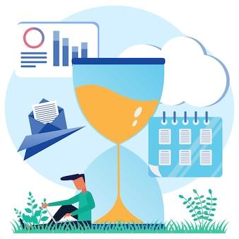 Иллюстрация векторной графики мультипликационный персонаж бизнес-планирования