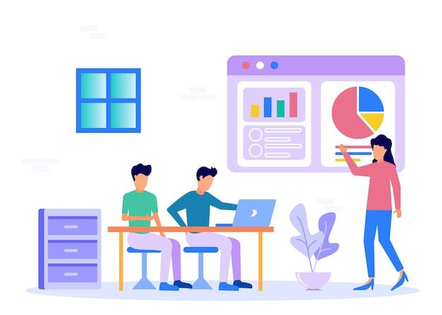 Иллюстрация векторной графики мультипликационный персонаж бизнес-презентации