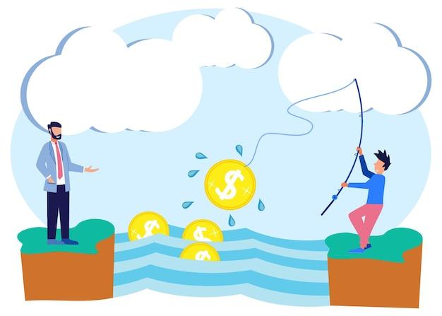 ビジネス利益のイラストベクトルグラフィック漫画のキャラクター Premiumベクター