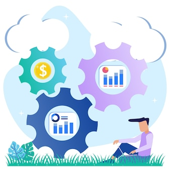 Иллюстрация векторной графики мультипликационный персонаж прибыли бизнеса