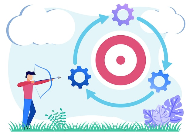 ビジネス戦略のイラストベクトルグラフィック漫画のキャラクター