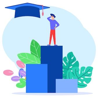 教育の概念のイラストベクトルグラフィック漫画のキャラクター