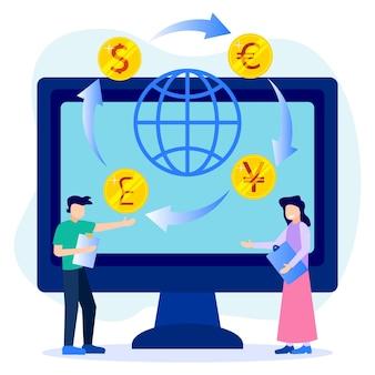 外貨両替のイラストベクトルグラフィック漫画のキャラクター