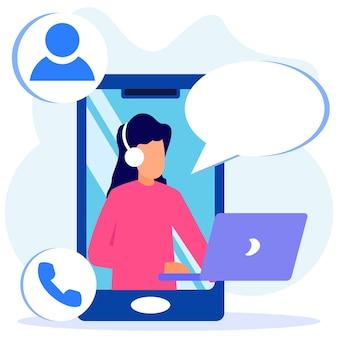Иллюстрация векторной графики мультипликационный персонаж службы поддержки клиентов