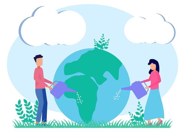 Иллюстрация векторной графики мультипликационный персонаж дня земли