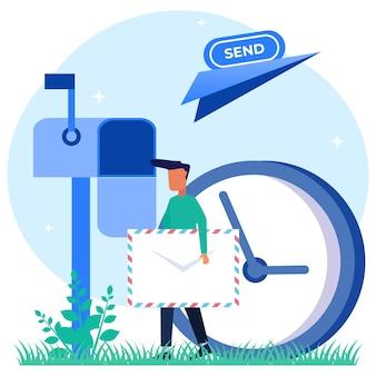 이메일 서비스의 그림 벡터 그래픽 만화 캐릭터