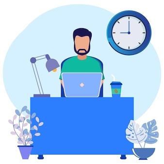 Иллюстрация векторной графики мультипликационный персонаж внештатного сотрудника