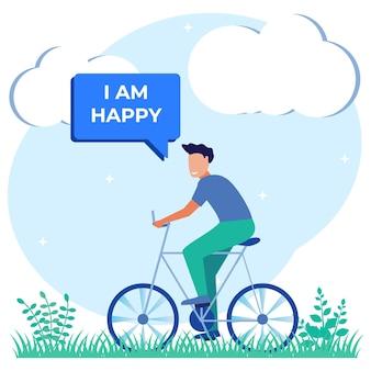 楽しいサイクリングのイラストベクトルグラフィック漫画のキャラクター