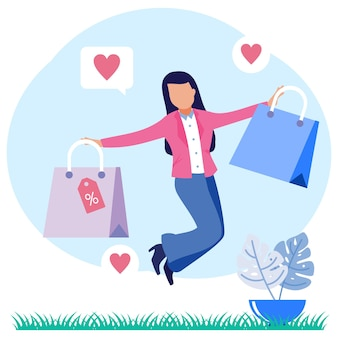 オンラインショッピング幸せな女性のイラストベクトルグラフィック漫画のキャラクター