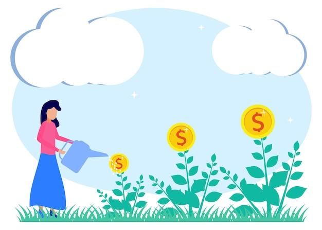 Иллюстрация векторной графики мультипликационный персонаж инвестиций
