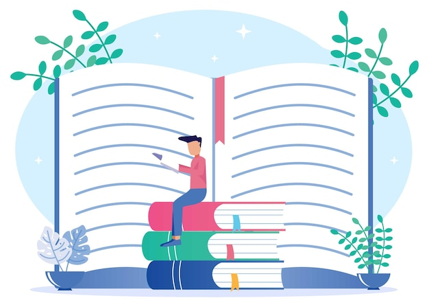 책에서 지식의 그림 벡터 그래픽 만화 캐릭터
