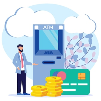 お金の引き出しのイラストベクトルグラフィック漫画のキャラクター