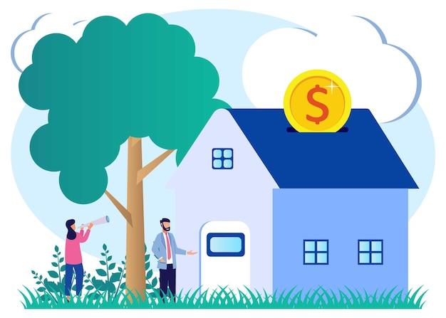 Иллюстрация векторной графики мультипликационный персонаж ипотеки