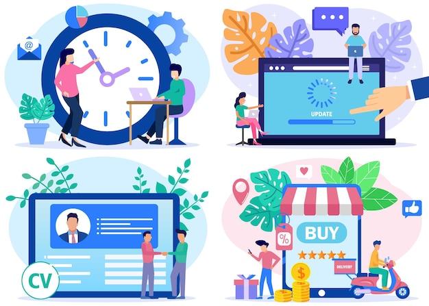 Иллюстрация векторной графики мультипликационный персонаж онлайн-бизнеса