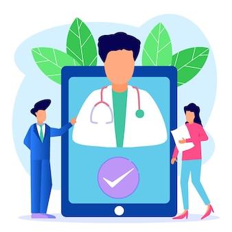 オンライン健康相談のイラストベクトルグラフィック漫画のキャラクター