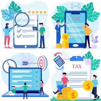 온라인 설문 조사 및 세금의 그림 벡터 그래픽 만화 캐릭터