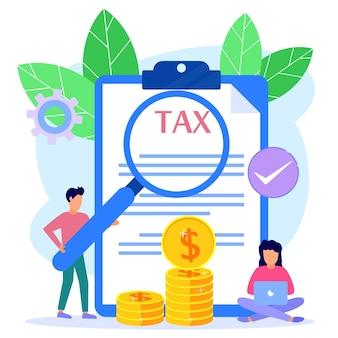 온라인 세금의 그림 벡터 그래픽 만화 캐릭터