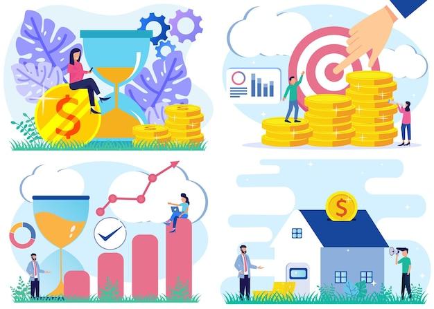 Иллюстрация векторной графики мультипликационный персонаж прибыли