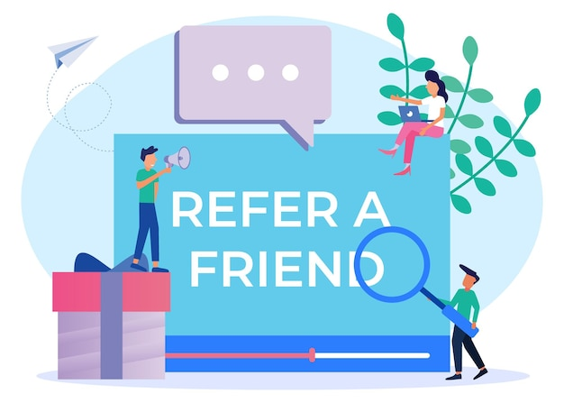 Иллюстрация векторной графики мультипликационный персонаж пригласить друга