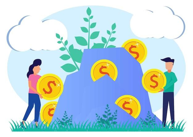 資本、投資の概念のイラストベクトルグラフィック漫画のキャラクター