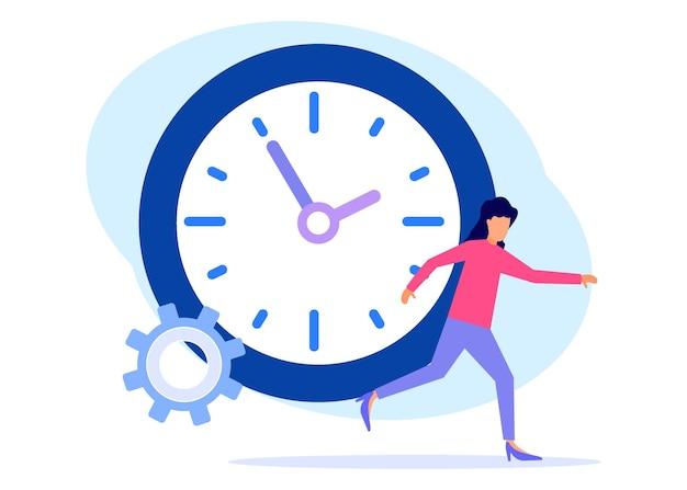 時間管理のイラストベクトルグラフィック漫画のキャラクター