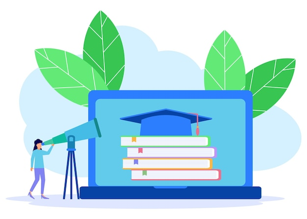 Illustration vector graphic cartoon character of online education