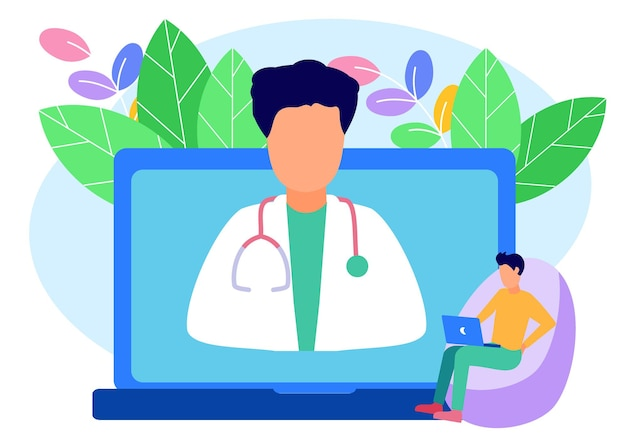 Illustration vector graphic cartoon character of online health consultation