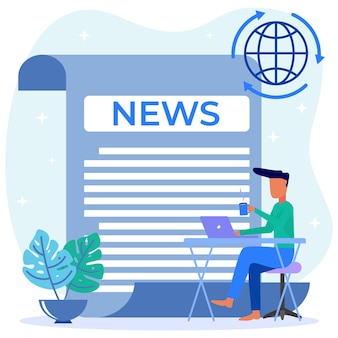 Illustration vector graphic cartoon character of online news