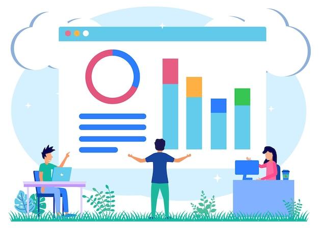Illustration vector graphic cartoon character of online work meetings