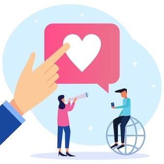 Illustration vector graphic cartoon character of positive response on social media