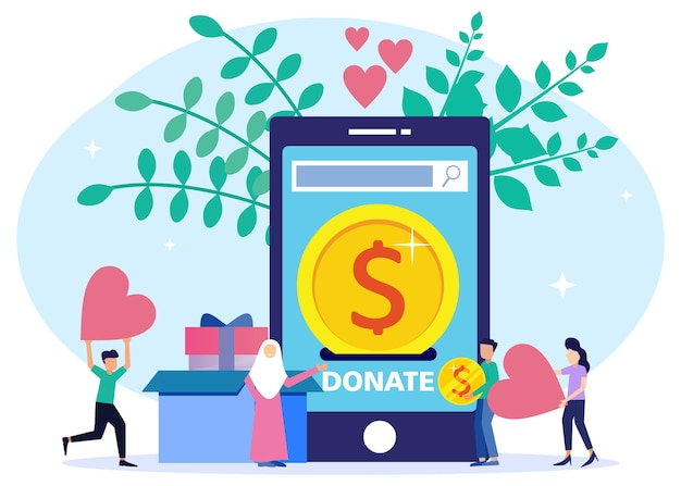 Illustration vector graphic cartoon character of share donations