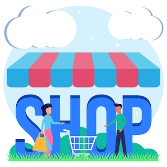 Illustration vector graphic cartoon character of shop