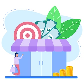 Illustration vector graphic cartoon character of shopping